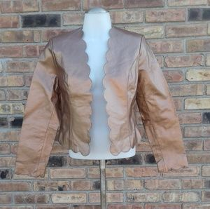 Copper Cropped Leather Jacket w/Scallop Detail